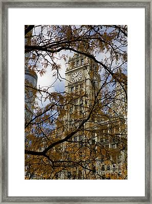 Wrigley Building In Autumn  Framed Print by Leslie Leda