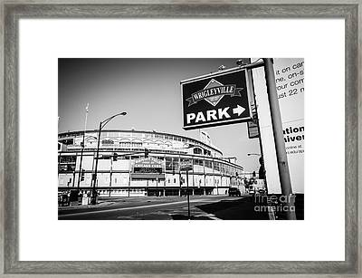 Wrigley Field And Wrigleyville Signs In Black And White Framed Print by Paul Velgos