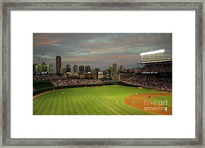 Wrigley Field At Dusk Framed Print
