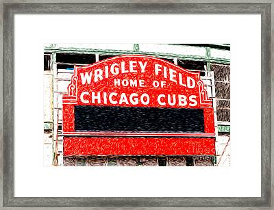 Wrigley Field Chicago Cubs Sign Digital Painting Framed Print by Paul Velgos