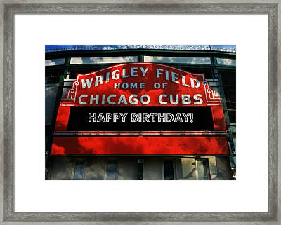 Wrigley Field -- Happy Birthday Framed Print by Stephen Stookey