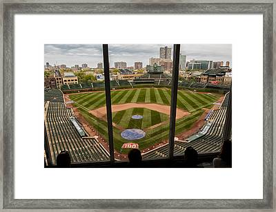 Wrigley Field Press Box Framed Print by Tom Gort