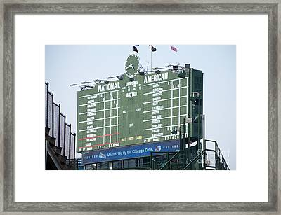 Wrigley Field Scoreboard Sign Framed Print by Paul Velgos