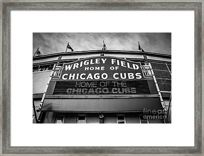 Wrigley Field Sign In Black And White Framed Print by Paul Velgos