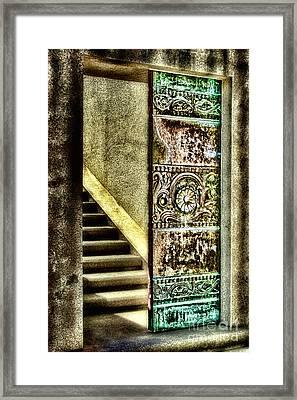Wrigley's Tower Bronze Doors By Diana Sainz Framed Print