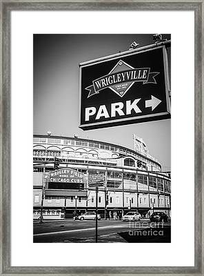 Wrigleyville Sign And Wrigley Field In Black And White Framed Print by Paul Velgos