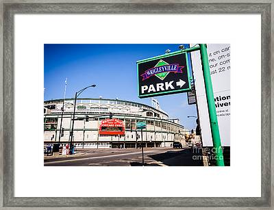 Wrigleyville Sign And Wrigley Field In Chicago Framed Print by Paul Velgos