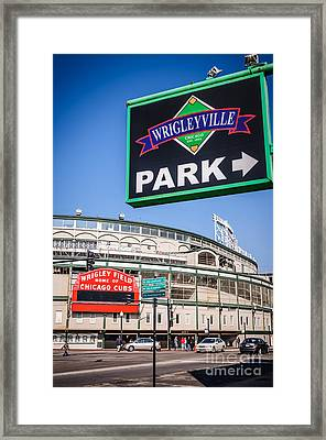 Wrigleyville Sign And Wrigley Field Framed Print by Paul Velgos