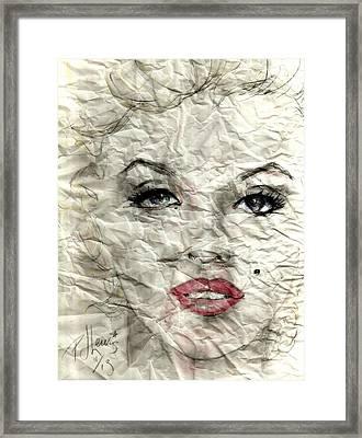 wrinckled Marilyn Framed Print by P J Lewis