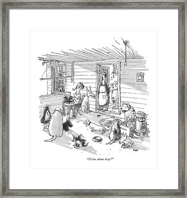 Write About Dogs! Framed Print by George Booth