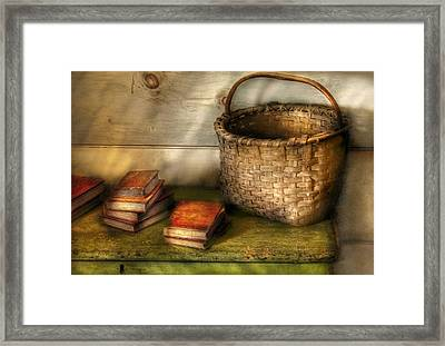 Writer - A Basket And Some Books Framed Print by Mike Savad