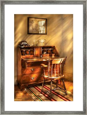Writer - A Chair And A Desk Framed Print by Mike Savad