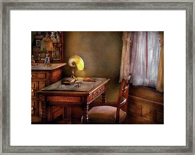 Writer - Desk Of An Inventor Framed Print by Mike Savad