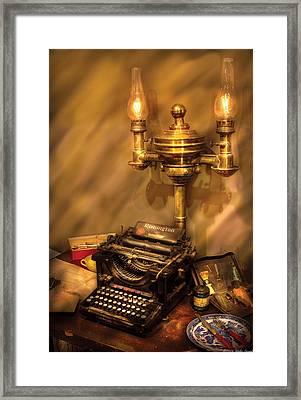Writer - Remington Typewriter Framed Print by Mike Savad
