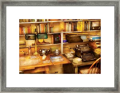 Writer - The Desk Of A Writer  Framed Print by Mike Savad
