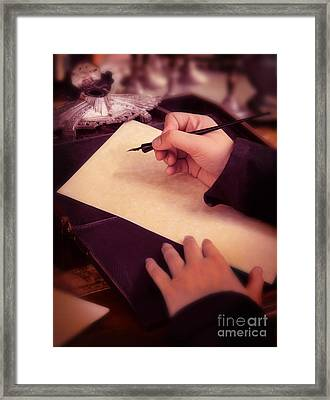 Writing A Letter In Times Past Framed Print