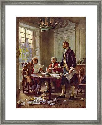 Writing The Declaration Of Independence 1776 Framed Print