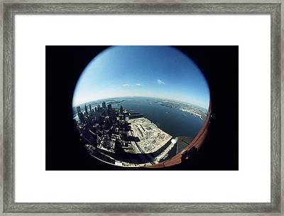 Wtc North Tower Hudson River Framed Print