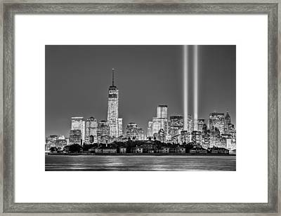 Wtc Tribute In Lights Bw Framed Print by Susan Candelario