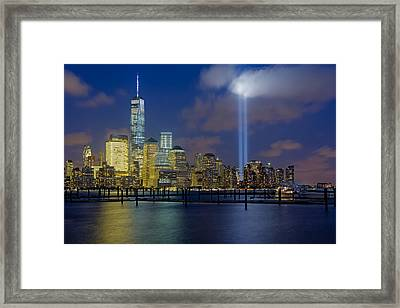 Wtc Tribute In Lights Nyc 1 Framed Print