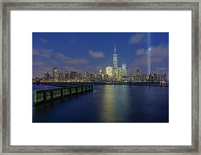 Wtc Tribute In Lights Nyc 2 Framed Print