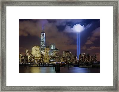 Wtc Tribute In Lights Nyc Framed Print