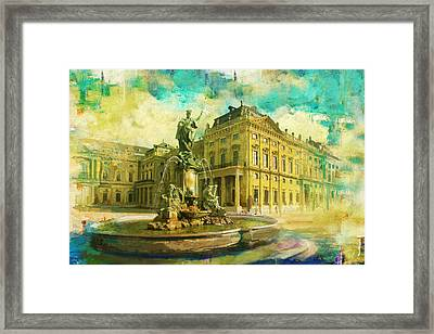 Wurzburg Residence With The Court Gardens And Residence Square Framed Print