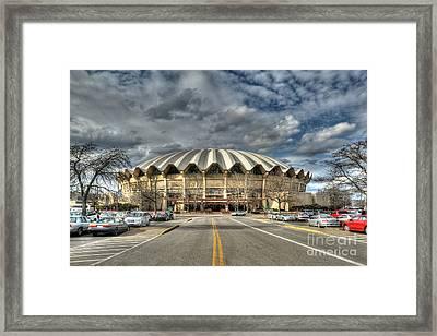 Wvu Basketball Coliseum Arena In Daylight Framed Print by Dan Friend