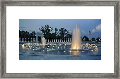 Ww II Memorial At Sunset Framed Print