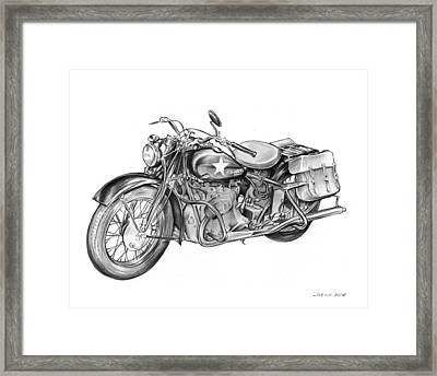 Ww2 Military Motorcycle Framed Print by Greg Joens