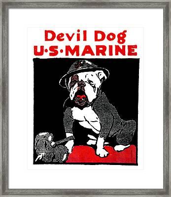 Wwi Marine Corps Devil Dog Framed Print
