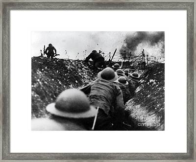 Wwi Over The Top Trench Warfare Framed Print by Photo Researchers