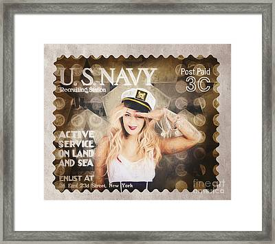 Wwi Recruiting Postage Stamp. Navy Sailor Girl Framed Print