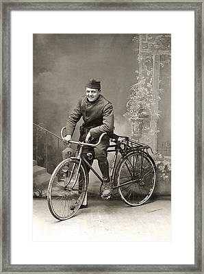 Wwi Us Army Bicyclist Framed Print by Historic Image