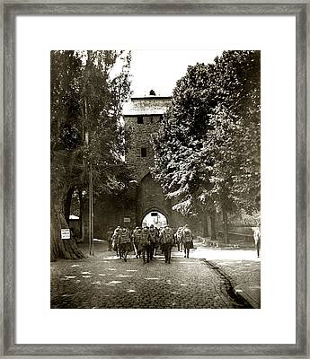 Wwi Us Soldiers In The Rhine Framed Print by Historic Image