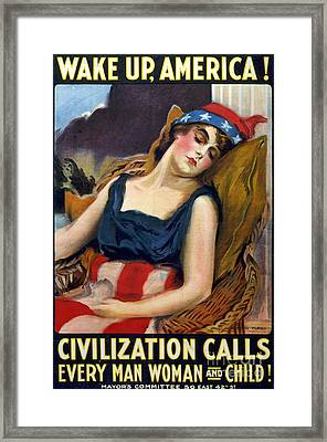 Wwi Wake Up America 1917 Framed Print by Photo Researchers