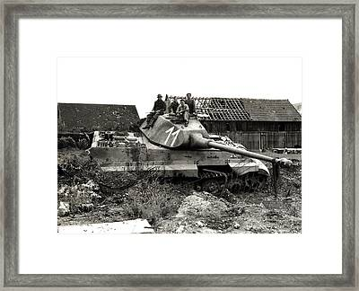 Wwii Allied Soldiers Atop German Tank Framed Print
