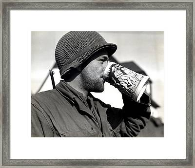 Wwii American Soldier Drinking Beer Framed Print