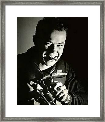 Wwii Armed Uscg Coxswain Framed Print by Historic Image