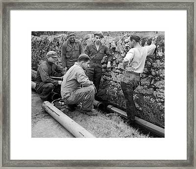 Wwii Aviation Fuel Line Framed Print by Underwood Archives