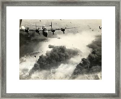 Wwii B-24 Liberators Over Ploesti Framed Print by Historic Image