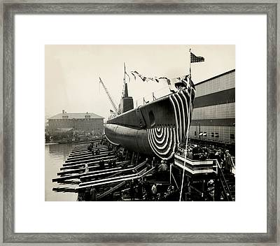 Wwii Launch Of Uss Peto Framed Print