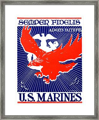 Wwii  Marine Corps Recruiting Poster Framed Print