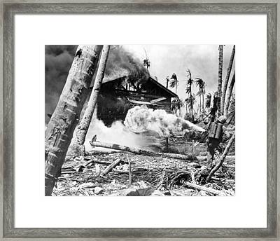 Wwii Marine Flamethrower Framed Print