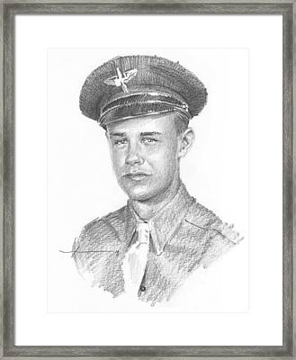 Wwii Military Dad Pencil Portrait Framed Print by Mike Theuer