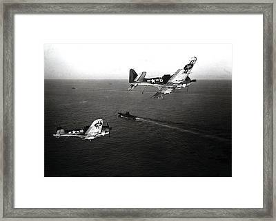 Wwii Navy Dive Bombers Headed Home Framed Print