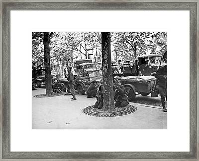 Wwii Paris Troops Framed Print by Underwood Archives