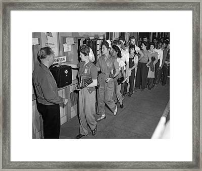 Wwii Student Workers Framed Print by Underwood Archives