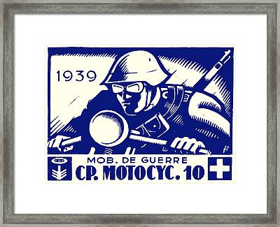 Wwii Swiss Motorcycle Company Framed Print by Historic Image