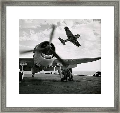 Wwii Us Navy Hellcats Framed Print by Historic Image